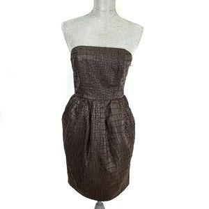 Rachel Roy brown crocodile print strapless dress